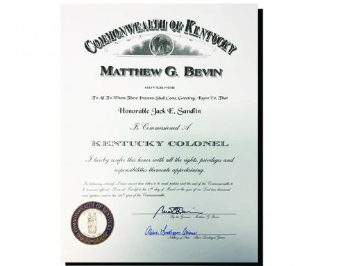 Jack Sandlin Named Kentucky Colonel